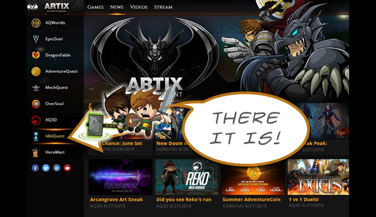 Play IdleQuest in the Artix Games Launcher