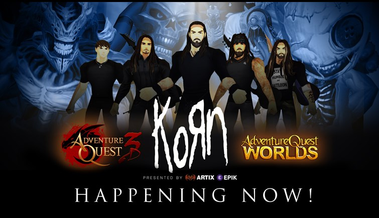 Korn to play concerts in the video games AdventureQuest 3D & AQWorlds