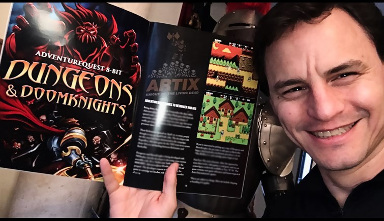 Artix holding Dev Cart issue #4 with Dungeons and DoomKnights