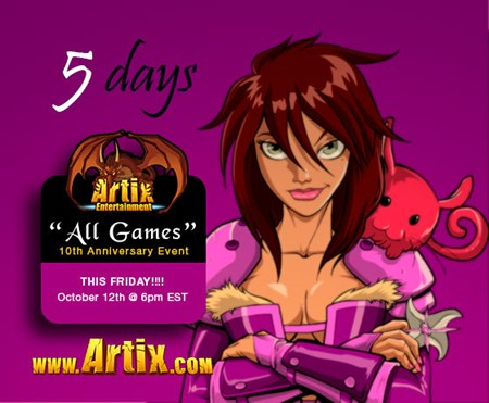 5 days untli Artix Entertainment's 10th anniversary event